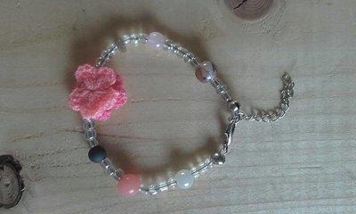Armband zalm roze/grijs