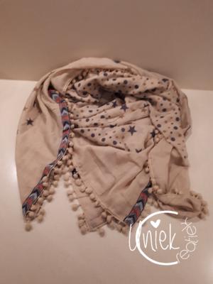 Sjaal beige pompons